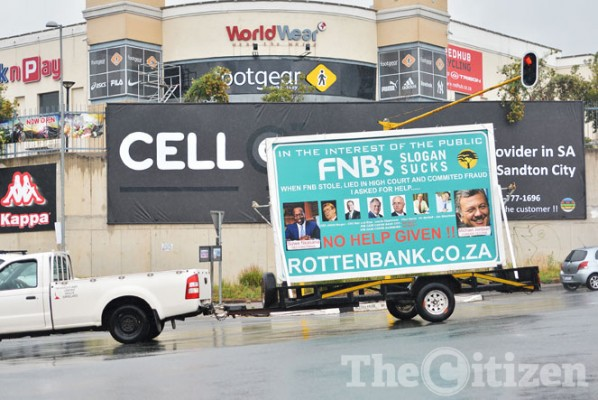 Angry client blasts FNB with banner